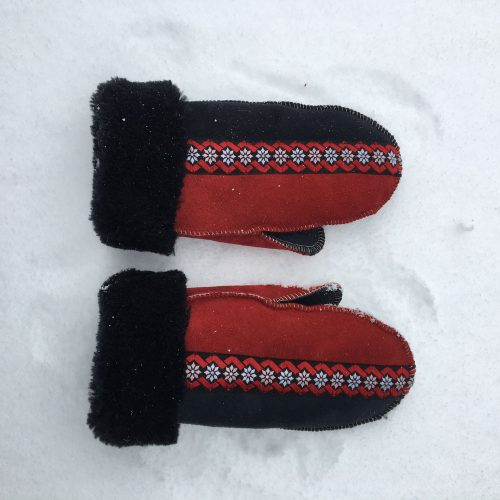 Sheepskin Mittens in Black & Red with Embroidered Braid