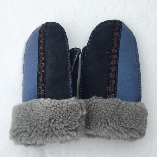 Sheepskin Mittens in Denim & Indigo with Embroidered Braid