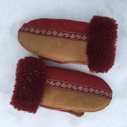 Sheepskin Mittens in Spice & Red with Embroidered Braid