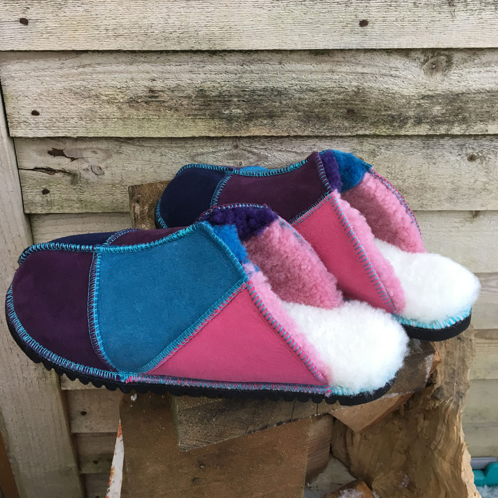 Sheepskin Mules in Ocean Purple & Pink