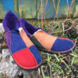 Sheepskin Slippers in Raj with red