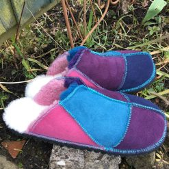 Sheepskin Mules in Navy Ocean Pink & Purple