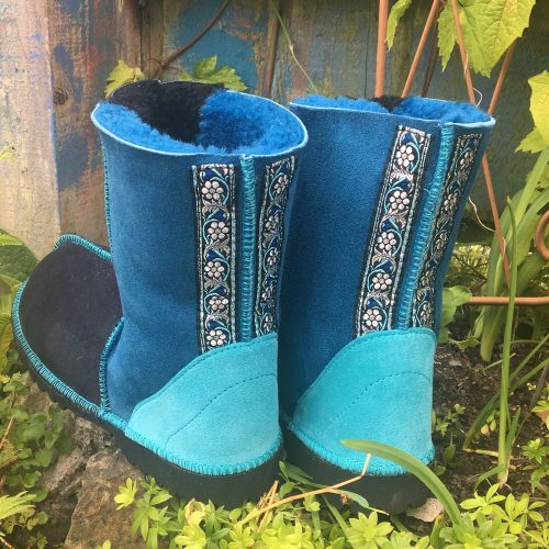 Sheepskin Boots in Indigo Ocean with embroidered braid