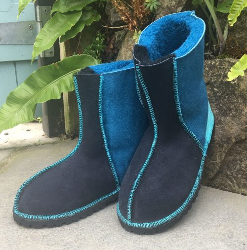 Sheepskin Boots in Indigo Ocean with embroidered braid & Turquoise stitching