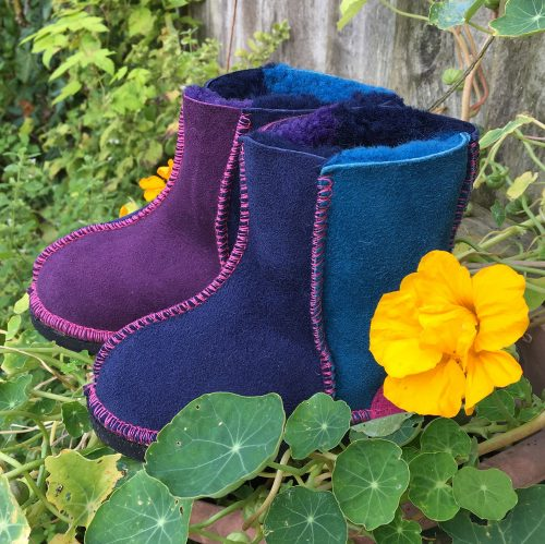 Kid's Sheepskin Boots Purple Navy Ocean