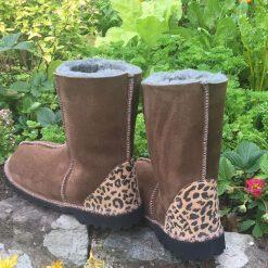 Sheepskin Boots Bark Leopard Heels