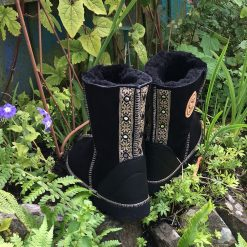 Sheepskin Boots Black with Embroidered Braid