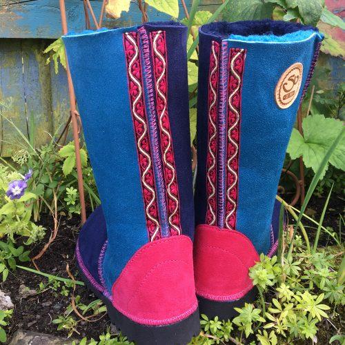Sheepskin Boots Calf Height Navy Ocean Pink