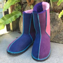 Sheepskin Boots Navy Purple Pink