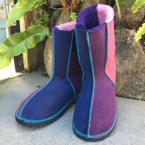 Sheepskin Boots Navy Purple Pink