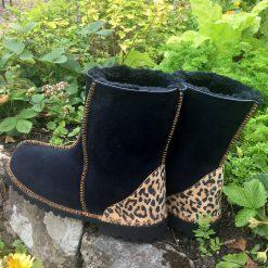 Sheepskin Boots Indigo Leopard Heels