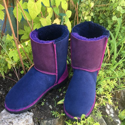 Genuine Sheepskin Boots Navy & Purple