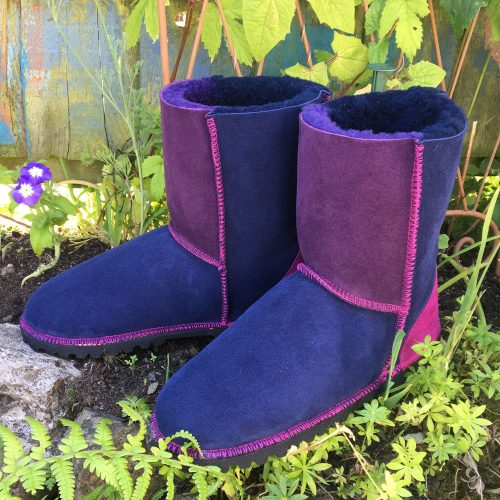 Genuine Sheepskin Boots in Navy & Purple - size 5