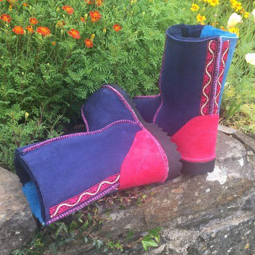 Sheepskin Boots Navy Ocean Pink