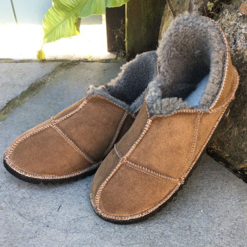 British made Sheepskin Slippers in Bark