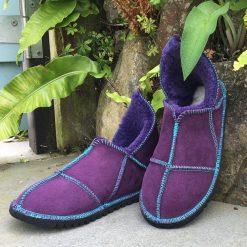 Sheepskin Slippers Purple made in UK