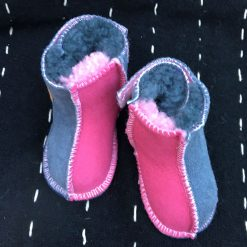 Sheepskin Baby Boots in Pink & Grey