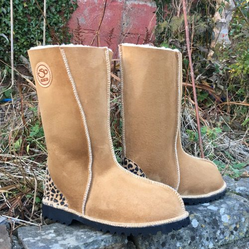 Sheepskin Boots Calf Height Spice Leopard