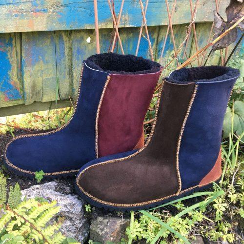 Sheepskin Boots in Damson Indigo Mocca
