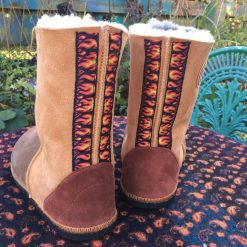 Sheepskin Boots Bark Ginger Flame Braid