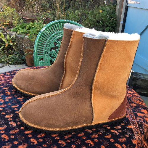Sheepskin Boots Bark Ginger Flame Braid