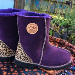 Sheepskin boots purple leopard heels