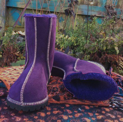 Sheepskin boots purple leopard heels