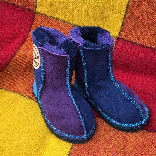 Kid's Sheepskin Boots Navy Purple