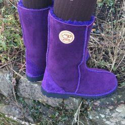 Sheepskin Boots Calf Height Purple