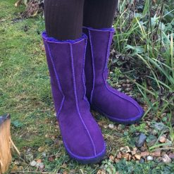 Sheepskin Boots Calf Height Purple
