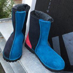 Sheepskin Boots Grey Indigo Ocean Pink
