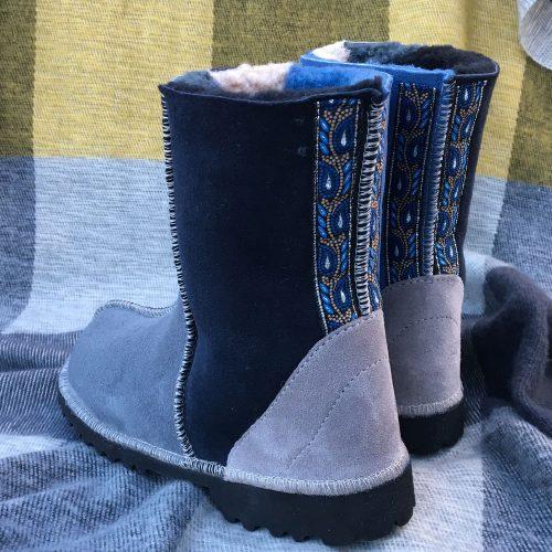 Sheepskin Boots Grey Denim Slate Indigo