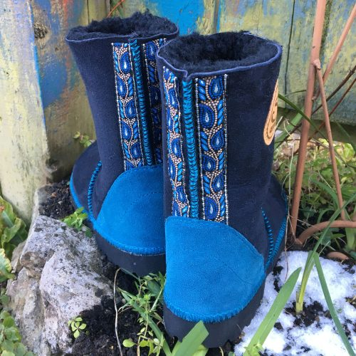 Sheepskin Boots Indigo Braid