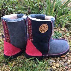 Sheepskin Boots Grey Slate Pink