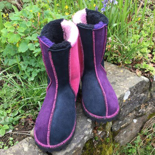 Sheepskin Boots Pink Purple Indigo