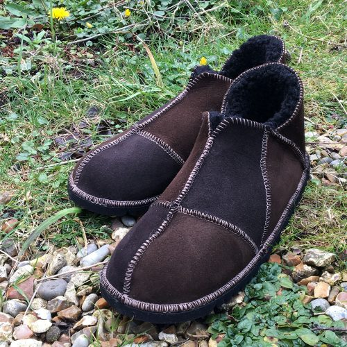 Mens Brown Sheepskin Slippers