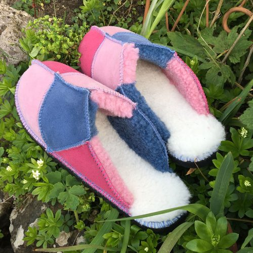 Ladies' Sheepskin Slippers Pink Denim