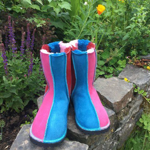 Sheepskin Boots Pink Blue Red