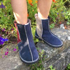 Kid's Sheepskin Boots Slate Damson Vole