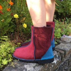 Kid's Sheepskin Boots Damson Wine