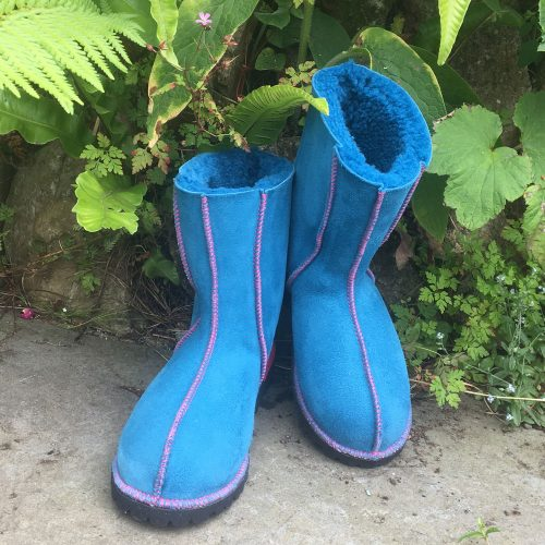 Sheepskin Boots ocean asymmetrical embroidery
