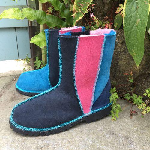 Sheepskin Boots Wildside Pink Ocean Indigo