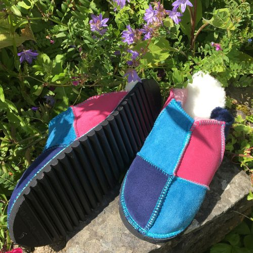 Sheepskin Slippers Pink Ocean Navy