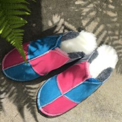 Sheepskin Mules Grey Ocean Pink