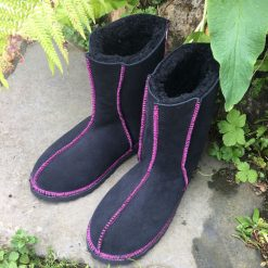 Sheepskin Boots Black with Embroidery