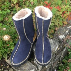 Sheepskin Boots Slate Blue Gold Embroidery & Leather Heels