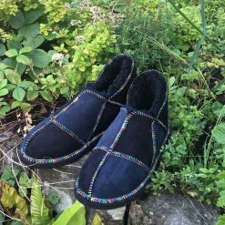 Sheepskin Slippers Black Indigo