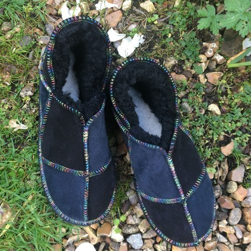 Sheepskin Slippers Black Indigo