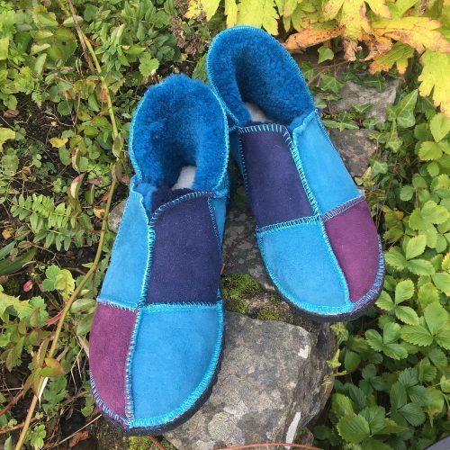 Sheepskin Slippers Purple & Blues