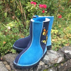 Sheepskin Boots Blue & Navy with Embroidered Butterflies